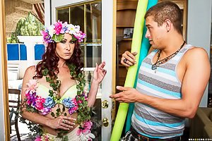 Wavy-haired redhead MILF dresses as Mother Nature and gets fucked