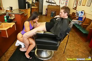 Tight pink dress brunette Latina hairdresser gets banged by her client