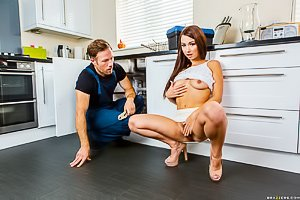 Skinny-ass brunette in a white skirt gets railed by the repairman