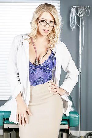 Curly-haired blonde MILF doctor gets pounded by her hung patient