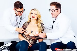 Red panties MILF blonde gets thoroughly examined by two hung doctors