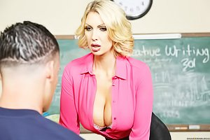 Glasses-wearing blonde teacher gets her MILF pussy destroyed