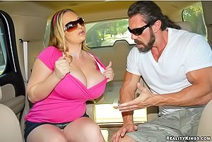 BBW-like thick blonde gets banged from behind while half-naked