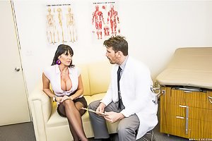 Stockings-clad MILF brunette gets banged by her well-endowed doctor