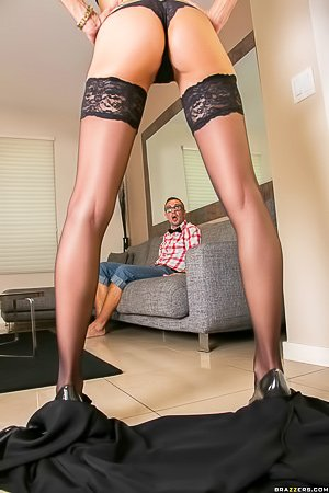 Stockings-clad MILF blonde lets this nerd nail her pussy on camera