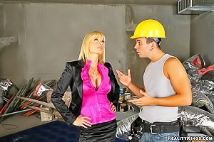 MILF blonde with bangs gets jack-hammered by a big-dicked worker