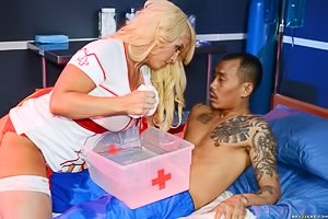 Red stockings thick blonde nurse fucking an Asian intern on a hospital bed