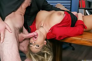 Long-legged and busty blonde MILF ends up fucked in the office