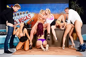 Five slutty babes get savagely banged during a late night show, live on air