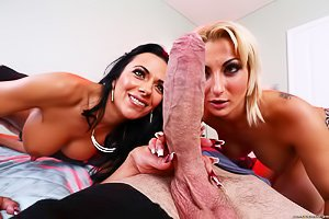 Short-haired MILF in black heels teams up with an actual hottie for a FFM