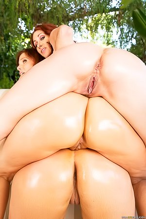 Three oily and stacked MILFs sucking this dude's meaty boner in POV