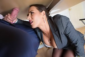Black stockings office slut gets to blow him under the table