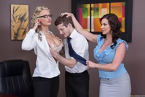 Glasses-wearing thick blonde and her dark-haired GF end up fucking a guy